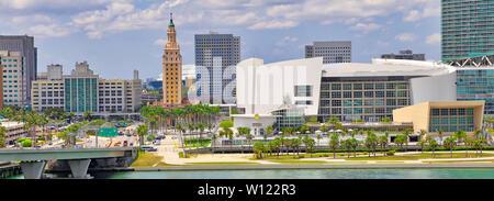 Miami, Florida, USA-20 May, 2019: Scenic Miami harbor on a bright sunny day