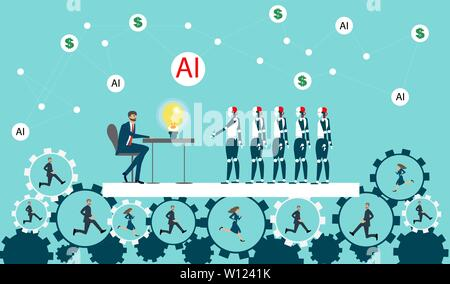 Robots replacing humans at work and business, automatization concept. - Stock Photo