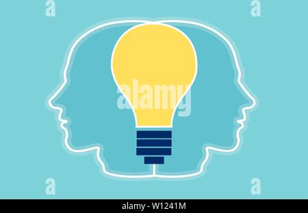 Vector of two heads silhouette with bright light bulb inside connecting them. Creative teamwork concept - Stock Photo