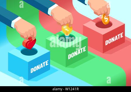 Vector of businessmen hands contributing money, ideas, moral support: coin, light bulb and heart into the fundraising box. Concept of donation for soc - Stock Photo
