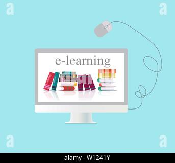 Vector concept of e-learning, distance online education over blue background - Stock Photo