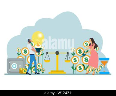 Vector of a young couple businessman and businesswoman balancing family budget and finances