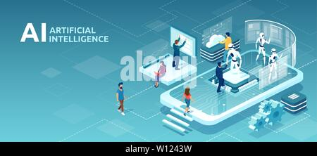 Vector concept of human artificial intelligence interaction with men and women meeting robots on a smartphone platform. AI and people computer interac - Stock Photo