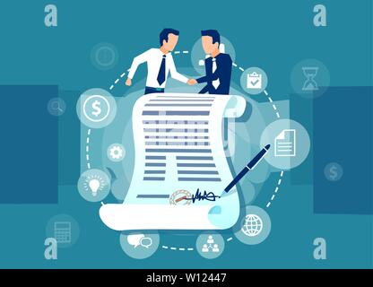 Vector of two business men having an agreement standing behind a signed contract on a handshake background - Stock Photo