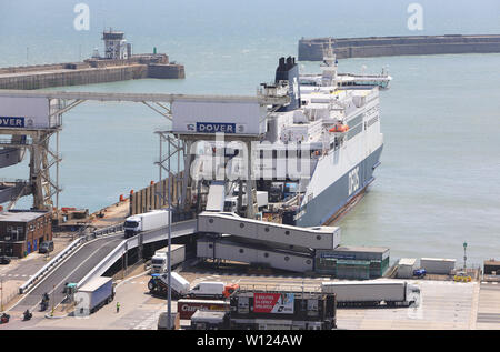 Freight unloading at Dover port, in Kent, England, UK - Stock Photo