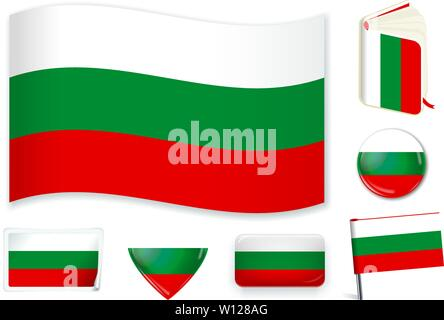 Bulgaria. Bulgarian national flag in wave, book, circle, pin, button heart and sticker shapes - Stock Photo