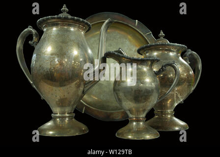 Dutch style still-life with kitchen ware on black background - Stock Photo