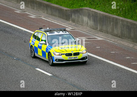 2017 BMW 330D Xdrive AC Auto, Police BMW Lancs Police Tac Ops, Tactical Operations division; M6, Lancaster, UK; Vehicular traffic, transport, modern, saloon cars, north-bound on the 3 lane highway. - Stock Photo