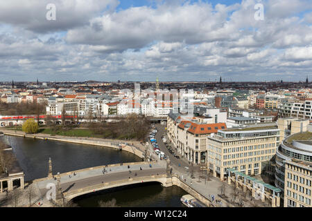 Spree River and buildings in Mitte district at the downtown Berlin, Germany, viewed from above on a sunny day in the early spring. - Stock Photo