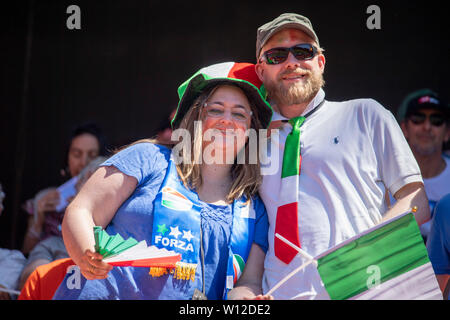 Valenciennes, France. 29th June, 2019. Supporters (Italy) during the FIFA Women's World Cup France 2019 Quarter-final match between Italy 0-2 Netherlands at Hainaut Stadium in Valenciennes, France, June29, 2019. Credit: Maurizio Borsari/AFLO/Alamy Live News - Stock Photo