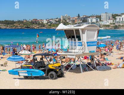 Lifeguard hut on Bondi Beach, Sydney, New South Wales, Australia - Stock Photo