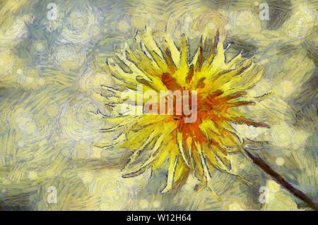 Blooming yellow thistles flower in the sun. Digital painting of thistles flower. Digital brushwork of thistles flower. - Stock Photo