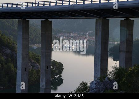 Small town of Skradin on Krka river, the entrance to the Krka National Park. - Stock Photo