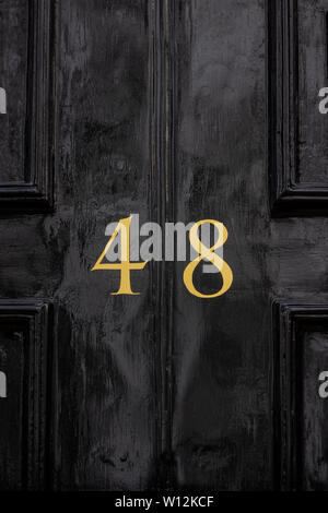 House number 48 with the forty-eight painted in gold on a black painted old wooden front door - Stock Photo
