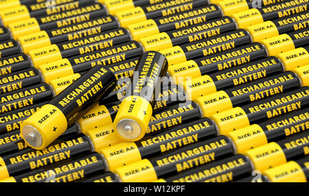 Rows of generic AA batteries with the label 'Rechargeable Battery' - 3D Rendering - Stock Photo
