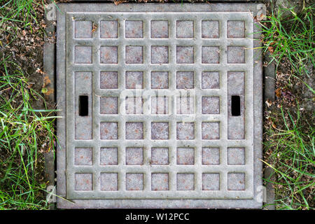 A small squared manhole cover with a rectangular pattern as found in the Grosser Garten at Dresden. It shows two rectangular openings to facilitate th - Stock Photo