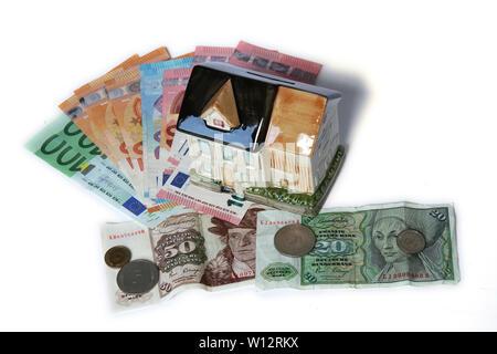 Symbolfoto Haus als Spardose mit Euro-Banknoten und Deutsche Mark - Stock Photo