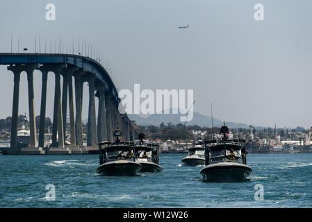 190619-N-DX868-1778 SAN DIEGO (June 6, 2019) 34-foot Dauntless Patrol Boats return to base from an underway crew-served gun shoot off the coast of San Diego. CRS-1 is qualifying for future mobilization requirements. (U.S. Navy photo by Hospital Corpsman 1st Class Kenji Shiroma/Released) - Stock Photo