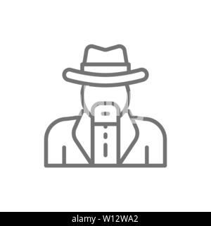Vector cowboys, sheriff line icon. Isolated on white background - Stock Photo