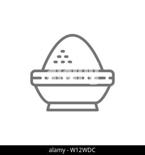 Rice in bowl, indian cuisine line icon.