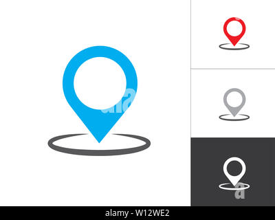 GPS Marker Isolated Vector Illustration Icon. Map Pin Concept Symbol Design on White Background. - Stock Photo