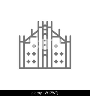 Milan Cathedral, landmark of Milan, Italy line icon. - Stock Photo