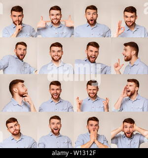 Collage of young guy portraits with different emotins - Stock Photo