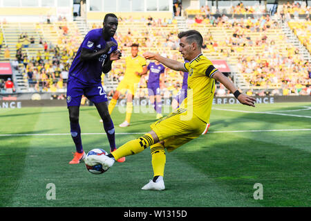 Saturday, June 29, 2019: Columbus Crew SC forward Pedro Santos (7) in the first half of the match between Orlando City and Columbus Crew SC at MAPFRE Stadium, in Columbus OH. Mandatory Photo Credit: Dorn Byg/Cal Sport Media. Orlando City 1 - Columbus Crew SC 0 after the first half - Stock Photo
