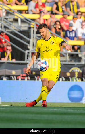 Saturday, June 29, 2019: Columbus Crew SC defender Gaston Sauro (22) in the first half of the match between Orlando City and Columbus Crew SC at MAPFRE Stadium, in Columbus OH. Mandatory Photo Credit: Dorn Byg/Cal Sport Media. Orlando City 1 - Columbus Crew SC 0 after the first half - Stock Photo