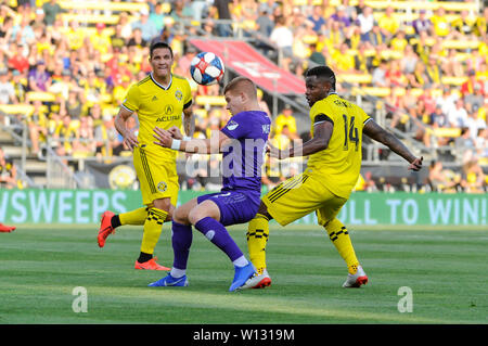 Saturday, June 29, 2019: Orlando City forward Chris Mueller (9) and Columbus Crew SC defender Waylon Francis (14) in the first half of the match between Orlando City and Columbus Crew SC at MAPFRE Stadium, in Columbus OH. Mandatory Photo Credit: Dorn Byg/Cal Sport Media. Orlando City 1 - Columbus Crew SC 0 after the first half - Stock Photo