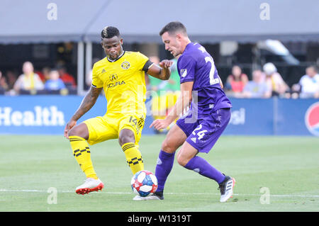 Saturday, June 29, 2019: Columbus Crew SC defender Waylon Francis (14) and Orlando City defender Kyle Smith (24) the first half of the match between Orlando City and Columbus Crew SC at MAPFRE Stadium, in Columbus OH. Mandatory Photo Credit: Dorn Byg/Cal Sport Media. Orlando City 1 - Columbus Crew SC 0 after the first half - Stock Photo
