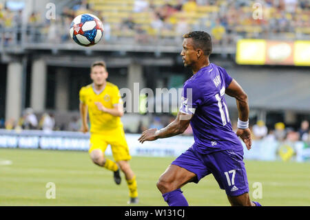 Saturday, June 29, 2019: Orlando City forward Nani (17) the first half of the match between Orlando City and Columbus Crew SC at MAPFRE Stadium, in Columbus OH. Mandatory Photo Credit: Dorn Byg/Cal Sport Media. Orlando City 2 - Columbus Crew SC 0 at the end of the match - Stock Photo