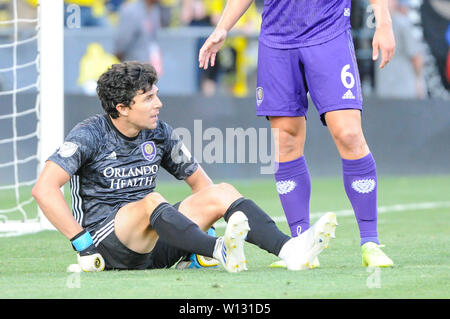 Saturday, June 29, 2019: Orlando City goalkeeper Brian Rowe (23) the first half of the match between Orlando City and Columbus Crew SC at MAPFRE Stadium, in Columbus OH. Mandatory Photo Credit: Dorn Byg/Cal Sport Media. Orlando City 1 - Columbus Crew SC 0 after the first half - Stock Photo
