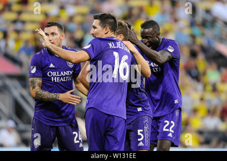 Saturday, June 29, 2019: Orlando City teammates celebrate Orlando City forward Tesho Akindele's (13) goal the first half of the match between Orlando City and Columbus Crew SC at MAPFRE Stadium, in Columbus OH. Mandatory Photo Credit: Dorn Byg/Cal Sport Media. Orlando City 2 - Columbus Crew SC 0 at the end of the match - Stock Photo