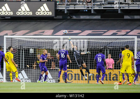 Saturday, June 29, 2019: Orlando City goalkeeper Brian Rowe (23) punches the ball away the first half of the match between Orlando City and Columbus Crew SC at MAPFRE Stadium, in Columbus OH. Mandatory Photo Credit: Dorn Byg/Cal Sport Media. Orlando City 2 - Columbus Crew SC 0 at the end of the match - Stock Photo