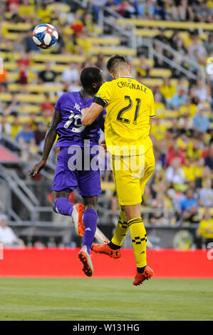Saturday, June 29, 2019: Orlando City forward Benji Michel (19) and Columbus Crew SC defender Alex Crognale (21) in the first half of the match between Orlando City and Columbus Crew SC at MAPFRE Stadium, in Columbus OH. Mandatory Photo Credit: Dorn Byg/Cal Sport Media. Orlando City 2 - Columbus Crew SC 0 at the end of the match - Stock Photo