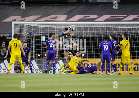 Saturday, June 29, 2019: Orlando City goalkeeper Brian Rowe (23) the first half of the match between Orlando City and Columbus Crew SC at MAPFRE Stadium, in Columbus OH. Mandatory Photo Credit: Dorn Byg/Cal Sport Media. Orlando City 2 - Columbus Crew SC 0 at the end of the match - Stock Photo
