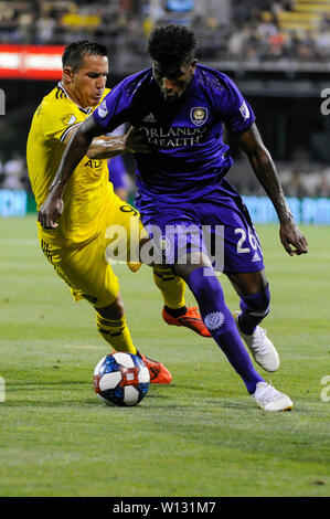 Saturday, June 29, 2019: Orlando City defender Carlos Ascues (26) and Columbus Crew SC midfielder David Guzman (9) in the first half of the match between Orlando City and Columbus Crew SC at MAPFRE Stadium, in Columbus OH. Mandatory Photo Credit: Dorn Byg/Cal Sport Media. Orlando City 2 - Columbus Crew SC 0 at the end of the match - Stock Photo