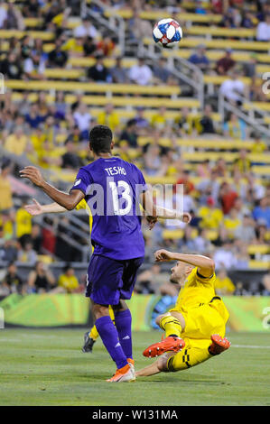 Saturday, June 29, 2019: Orlando City forward Tesho Akindele (13) the first half of the match between Orlando City and Columbus Crew SC at MAPFRE Stadium, in Columbus OH. Mandatory Photo Credit: Dorn Byg/Cal Sport Media. Orlando City 2 - Columbus Crew SC 0 at the end of the match - Stock Photo