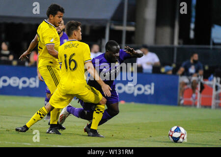 Saturday, June 29, 2019: Columbus Crew SC midfielder Hector Jimenez (16) and Orlando City forward Benji Michel (19) the first half of the match between Orlando City and Columbus Crew SC at MAPFRE Stadium, in Columbus OH. Mandatory Photo Credit: Dorn Byg/Cal Sport Media. Orlando City 2 - Columbus Crew SC 0 at the end of the match - Stock Photo
