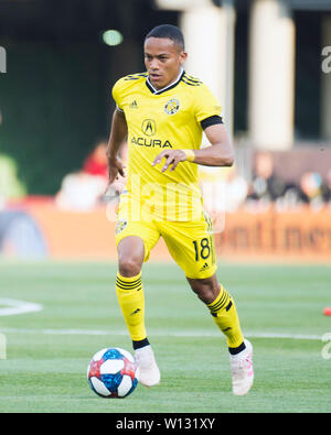 June 29, 2019:Columbus Crew SC forward Robinho (18) dribbles the ball down the pitch against Orlando City SC in their game in Columbus, Ohio, USA. Brent Clark/Alamy Live News - Stock Photo