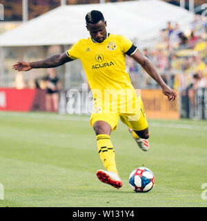 June 29, 2019: Columbus Crew SC defender Waylon Francis (14) sends the ball down the pitch against Orlando City in their game in Columbus, Ohio, USA. Brent Clark/Alamy Live News - Stock Photo