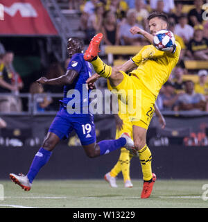 June 29, 2019: Columbus Crew SC defender Alex Crognale (21) hanldes the ball against Orlando City in their game in Columbus, Ohio, USA. Brent Clark/Alamy Live News - Stock Photo