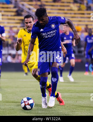 June 29, 2019: Orlando City defender Carlos Ascues (26) handles the ball against the Columbus Crew SC defense in their game in Columbus, Ohio, USA. Brent Clark/Alamy Live News - Stock Photo