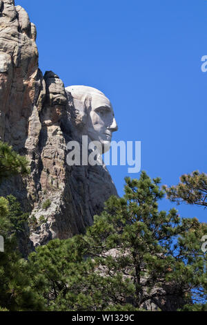 Part of Mount Rushmore National Monument: Portrait of George Washington, South Dakota, USA