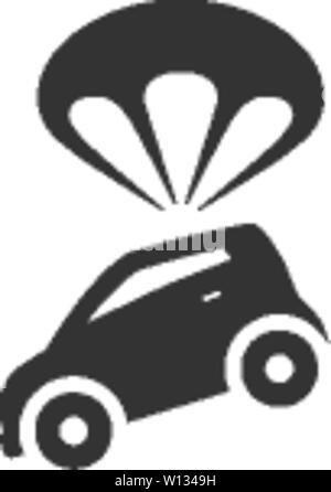Car parachute icon in single color. Insurance protection investment transportation - Stock Photo