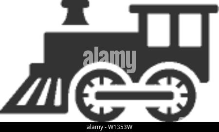 Locomotive toy icon in single grey color. Children games - Stock Photo