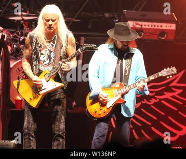 Rickey Medlocke and Gary Rossington on stage as Lynyrd Skynyrd play the London date of their 'Last of the Street Survivors Farewell Tour' at SSE Wembley Arena - Stock Photo