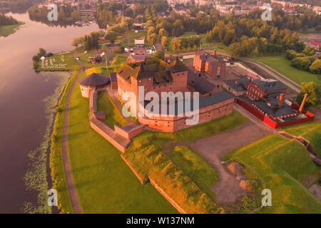 View of the ancient fortress-prison of the Hameenlinna city on an early July morning (shooting from a quadcopter). Finland - Stock Photo