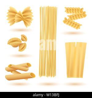 Isolated Set of Italian Pasta. Farfalle, Conchiglie, Linguine, Maccheroni, Penne, Rigate, Spaghetti, Fusilli and Lasagne. - Stock Photo